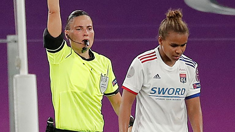 Nikita Parris was sent off for a foul on PSG goalkeeper Christiane Endler