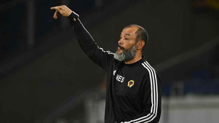 Nuno during Wolves Europa League defeat to Sevilla