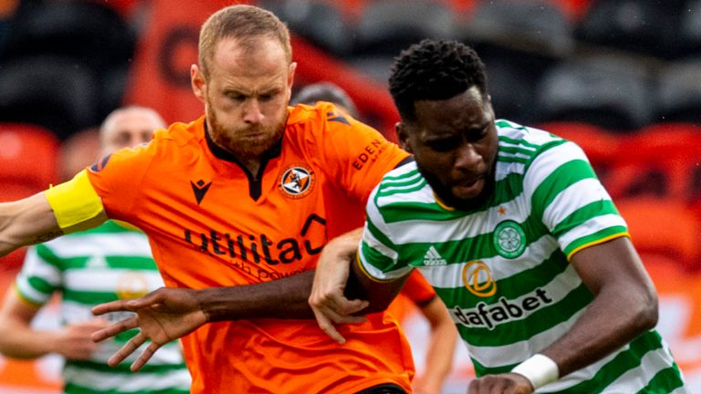 DUNDEE, SCOTLAND - AUGUST 22: Celtic's Odsonne Edouard and Mark Reynolds in action during  the Scottish Premiership match between Dundee Utd  and Celtic at Tannadice,  on August 22, 2020, in Dundee, Scotland. (Photo by Alan Harvey / SNS Group)