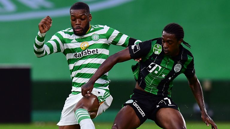 Olivier Ntcham nips in to start another Celtic attack on Wednesday