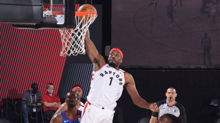 Paul Watson of the Toronto Raptors shoots the ball against the Denver Nuggets