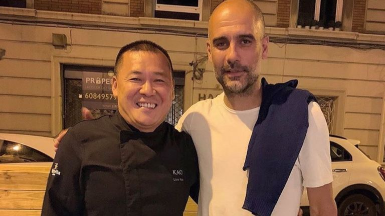 Pep Guardiola ate at a Barcelona restaurant on Friday night