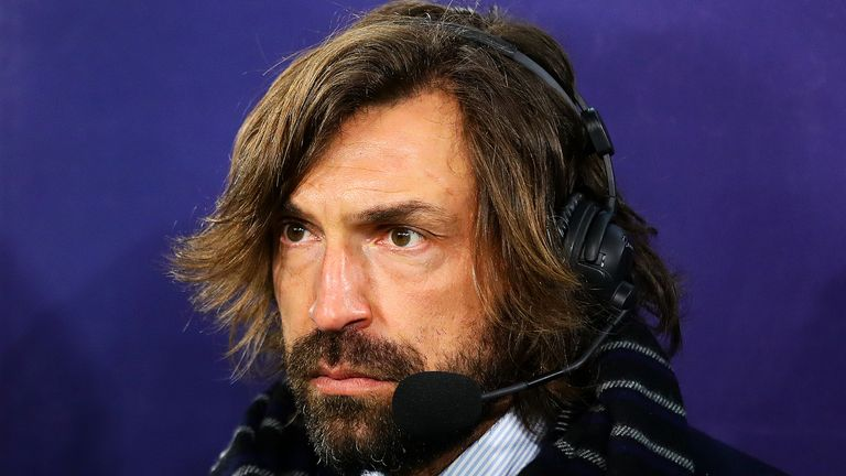 TURIN, ITALY - MARCH 12: Andrea Pirlo looks on during the UEFA Champions League Round of 16 Second Leg match between Juventus and Club de Atletico Madrid at Allianz Stadium on March 12, 2019 in Turin, Italy. (Photo by Chris Brunskill/Fantasista/Getty Images)