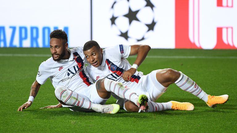 Neymar and Kylian Mbappe celebrate PSG's incredible late comeback