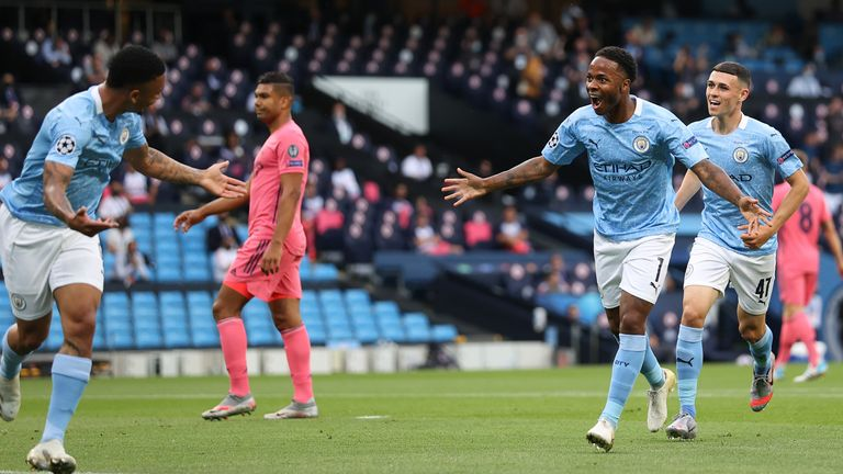 Sterling became the sixth Englishman to reach 20 Champions League goals