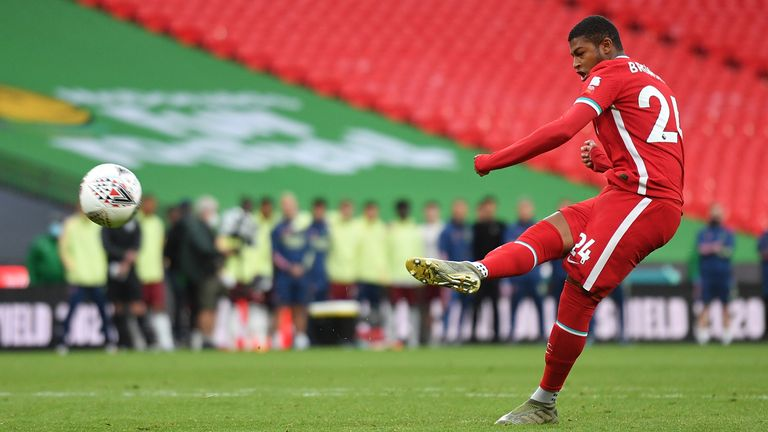 Rhian Brewster lifts his spot-kick against the crossbar in the Community Shield