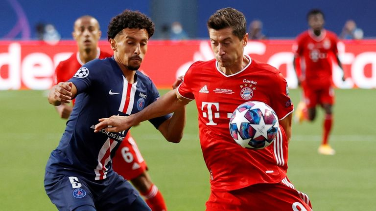 Robert Lewandowski holds the ball up for his side during the final