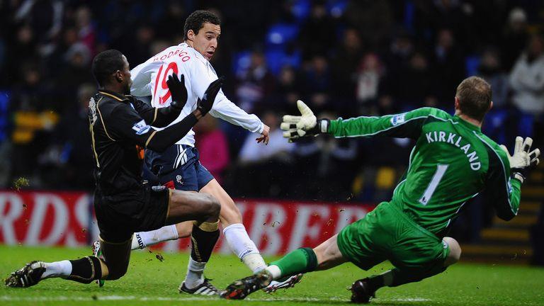 Rodrigo scores his first Premier League goal for Bolton against Wigan in 2011.