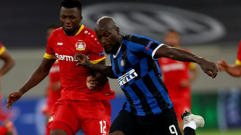 The outstanding Lukaku was a constant menace to the Leverkusen defence