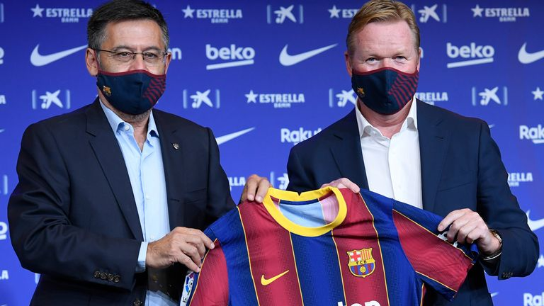 Ronald Koeman is unveiled as the new head coach of Barcelona