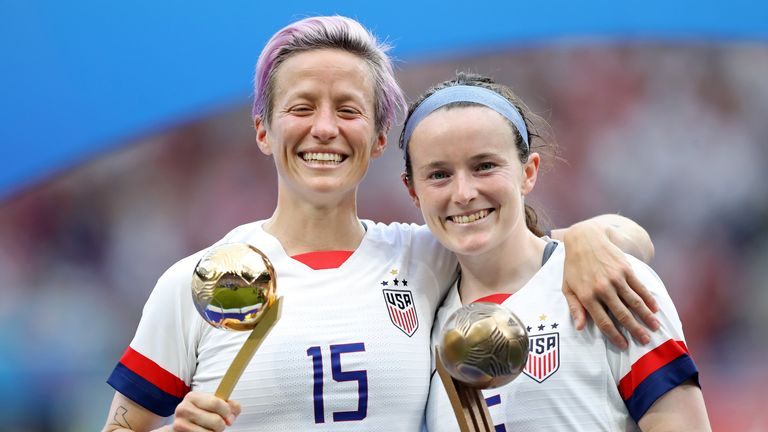 Rose Lavelle (R) celebrates with team-mate Megan Rapinoe following the USA's win over the Netherlands in the World Cup final in July, 2019.