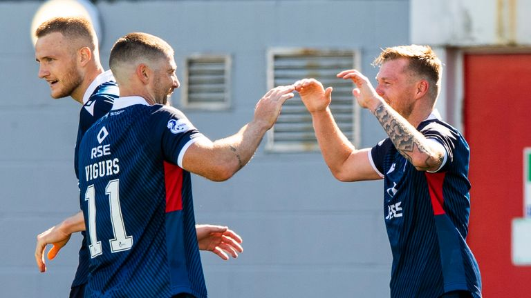 HAMILTON, SCOTLAND - AUGUST 08: Billy McKay celebrates after scoring to make it 1-0 during a Scottish Premiership match between Hamilton Academical and Ross County at New Douglas Park, on August 6, 2020, in Hamilton, Scotland..(Alan Harvey / SNS Group)