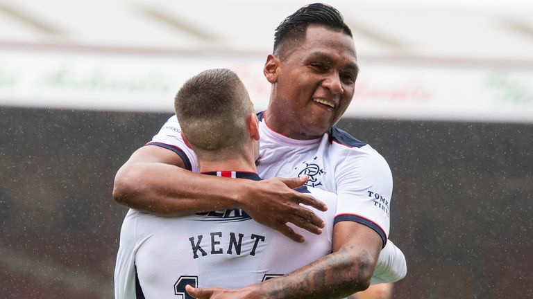 Ryan Kent celebrates with Alfredo Morelos after scoring for Rangers