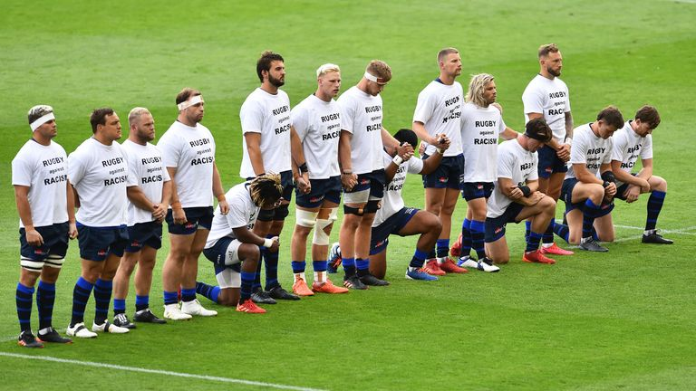 Five Sale Sharks took a knee before kick off for the Black Lives Matter movement