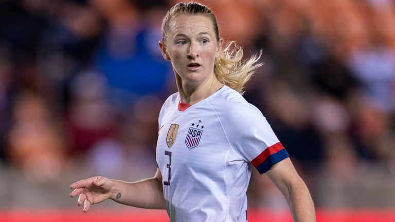 Sam Mewis in action for USWNT against Haiti