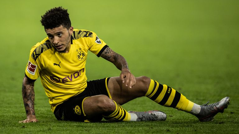 DORTMUND, GERMANY - JUNE 17: (EDITORS NOTE: Image has been digitally enhanced.) JKadon Sancho of Dortmund looks dejected during the Bundesliga match between Borussia Dortmund and 1. FSV Mainz 05 at Signal Iduna Park on June 17, 2020 in Dortmund, Germany. (Photo by Lars Baron/Bundesliga/Bundesliga Collection via Getty Images)