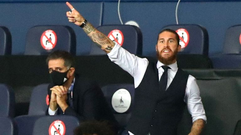 The suspended Sergio Ramos watched on nervously from the stands at the Etihad