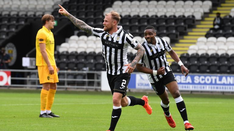 PAISLEY, SCOTLAND - AUGUST 01: St Mirren's Richart Tait makes it 1-0 during the Scottish Premiership match between St Mirren and Livingston at the Simple Digital Arena on August 01, 2020, in Paisley, Scotland..(Alan Harvey / SNS Group)