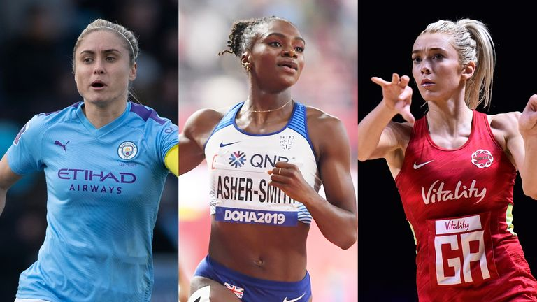Steph Houghton, Dina Asher-Smith and Helen Housby