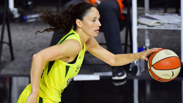 Bird drives during a Seattle Storm game in the WNBA bubble