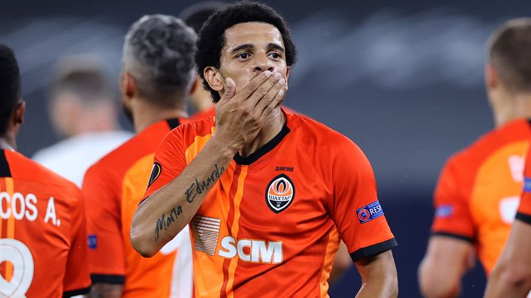 Taison of Shakhtar Donetsk celebrates after scoring his side's second goal against Basel