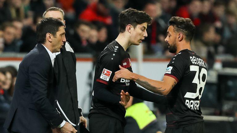 Tayfun Korkut brings on Kai Havertz for Bayer Leverkusen in a Bundesliga game in 2017