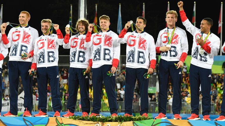 Silver medallists Britain celebrate on the podium at the Rio 2016 Olympic Games
