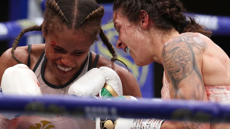 HANDOUT PICTURE COMPLIMENTS OF MATCHROOM BOXING.Matchroom Boxing Fight Camp 2 Fight Night.7 August 2020.Picture By Mark Robinson.Terri Harper vs Natasha Jonas, WBC and IBO World Super Featherweight Title.