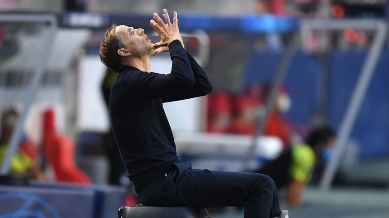 PSG boss Thomas Tuchel looks to the skies during a frustrating first half