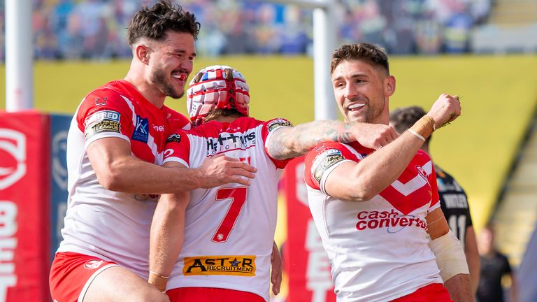 Tommy Makinson celebrates after scoring an impressive individual try