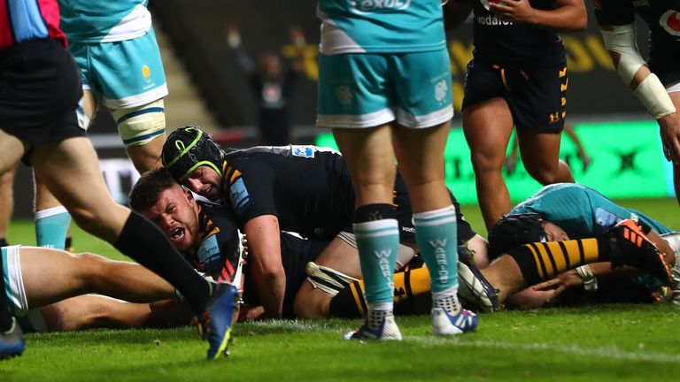 Alfie Barbeary scored a last-gasp bonus-point clinching try for Wasps