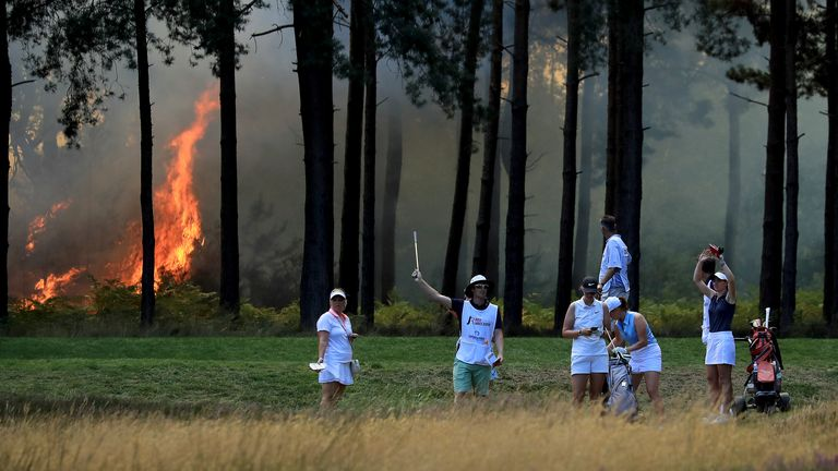Sky Sports News reporter Jamie Weir was on the ground at Wentworth Golf Club after a fire broke out on the West Course that suspended play at the Rose Ladies Series Grand Final