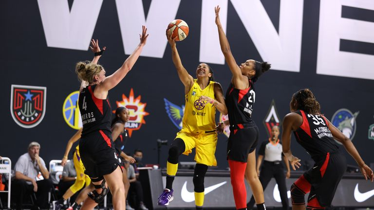 Highlights of the WNBA regular season game between the Las Vegas Aces and the Los Angeles Sparks from Florida.