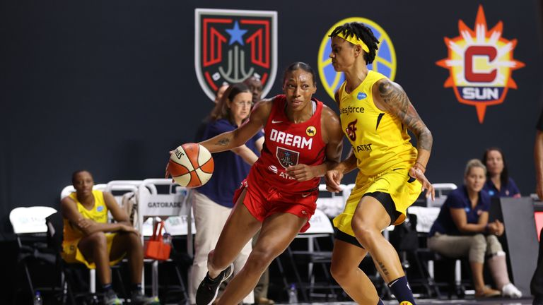 Betnijah Laney #44 of the Atlanta Dream handles the ball against the Indiana Fever on August 2, 2020 at Feld Entertainment Center in Palmetto, Florida.