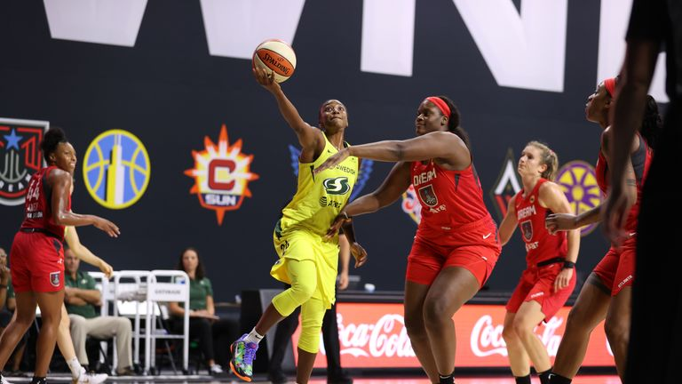 Jewell Loyd #24 of the Seattle Storm shoots the ball against the Atlanta Dream on August 12, 2020 at Feld Entertainment Center in Palmetto, Florida.