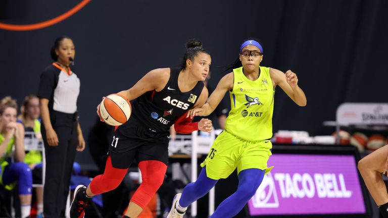 Kayla McBride #21 of the Las Vegas Aces handles the ball during the game against the Dallas Wings on August 2, 2020 at Feld Entertainment Center in Palmetto, Florida.