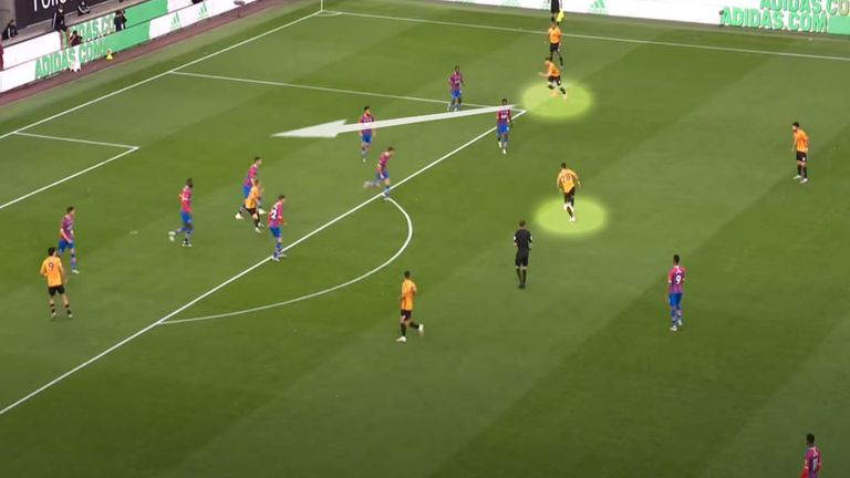 Matt Doherty gets on the end of Joao Moutinho's pass to set up Wolves' opening goal against Crystal Palace