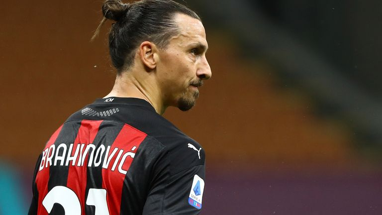 Zlatan Ibrahimovic of AC Milan looks on during the Serie A match between AC Milan and Cagliari Calcio at Stadio Giuseppe Meazza on August 01, 2020 in Milan, Italy.