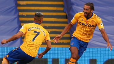 Dominic Calvert-Lewin celebrates after giving Everton the lead