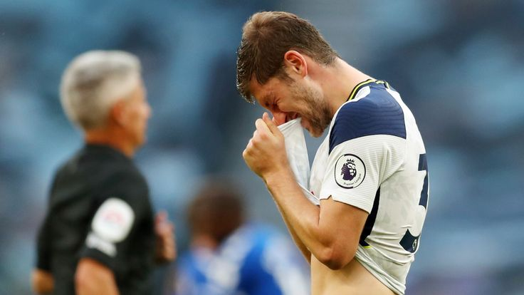 Ben Davies shows his frustration at full time as Tottenham are beaten
