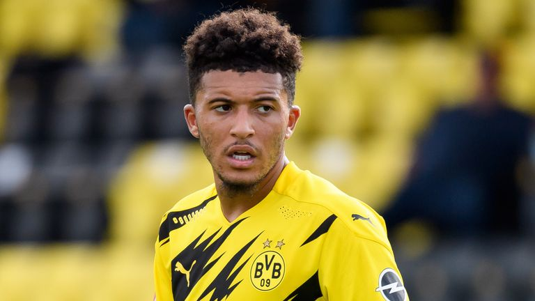 DORTMUND, GERMANY - AUGUST 28: (BILD ZEITUNG OUT) Jadon Sancho of Borussia Dortmund looks on during the pre-season friendly match between Borussia Dortmund and SC Paderborn on August 28, 2020 in Dortmund, Germany. (Photo by Alex Gottschalk/DeFodi Images via Getty Images)