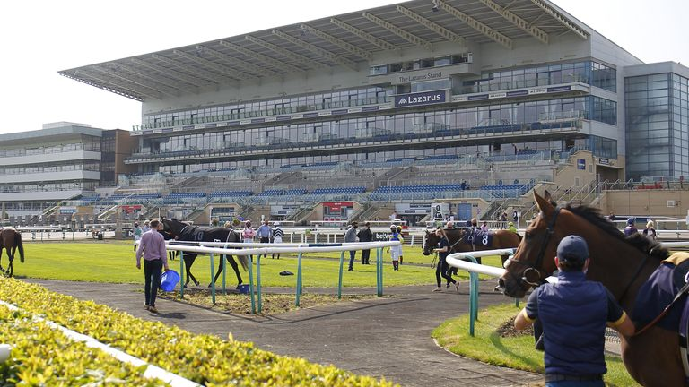 General view of the action at Doncaster Racecourse.