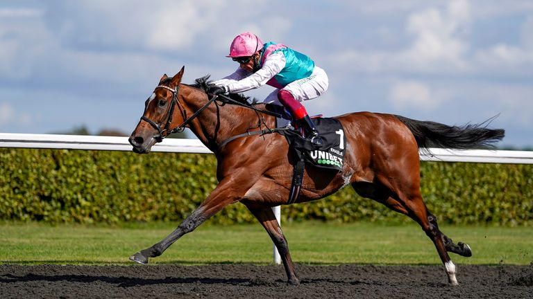 SUNBURY, ENGLAND - SEPTEMBER 05: Frankie Dettori riding Enable win The Unibet September Stakes at Kempton Park Racecourse on September 05, 2020 in Sunbury, England. Owners are allowed to attend if they have a runner at the meeting otherwise racing remains behind closed doors to the public due to the Coronavirus pandemic. (Photo by Alan Crowhurst/Getty Images)