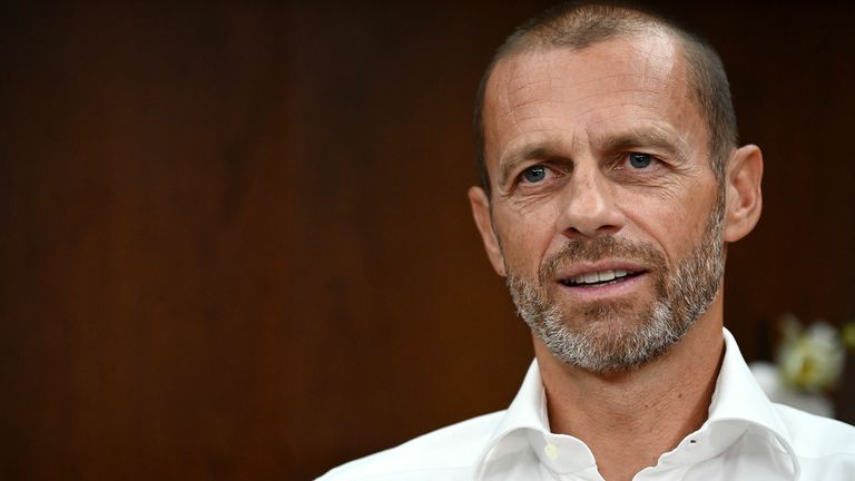 UEFA president Aleksander Ceferin answers to journalists during an AFP interview at a hotel in Lisbon on August 13, 2020