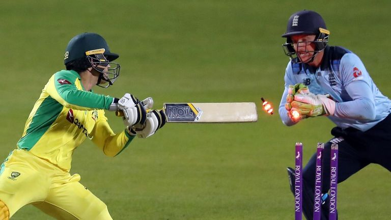 Alex Carey was stumped by Jos Buttler as England wrapped up a 24-run win over Australia to level the ODI series