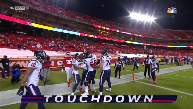 David Johnson ran in the opening touchdown of the NFL season as the Texans took the lead against the Chiefs