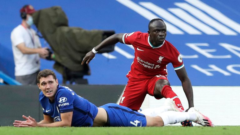 Andreas Christensen looks to Referee Paul Tierney after fouling Sadio Mane