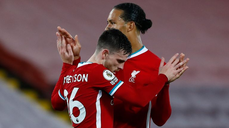 Andy Robertson celebrates his goal with Virgil van Dijk