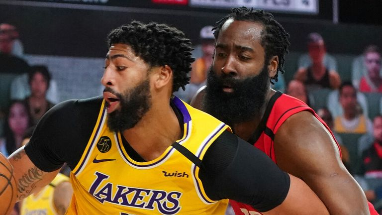 James Harden guards Anthony Davis in the Rockets' Game 4 loss to the Lakers