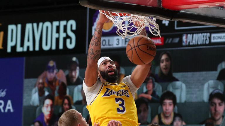 Anthony Davis of the Los Angeles Lakers shoots the ball against the Denver Nuggets during Game One of the Western Conference Finals
